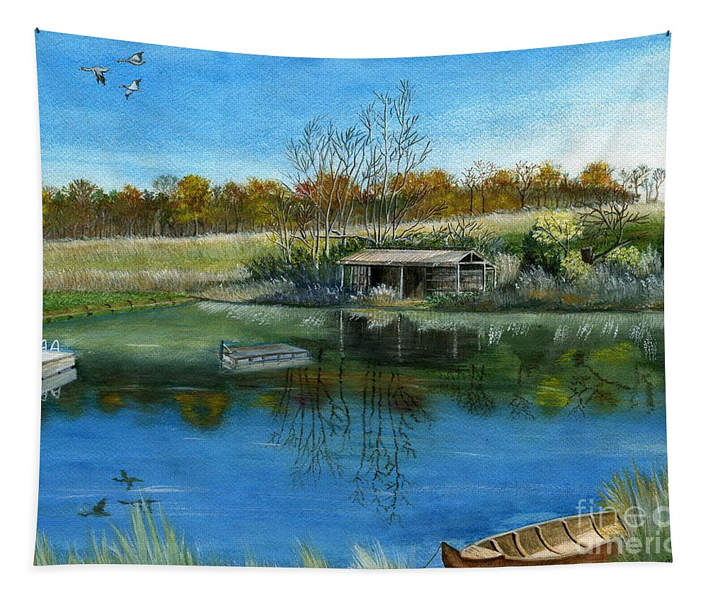 Pond Tapestry featuring the painting Cole Hill Pond by Melly Terpening