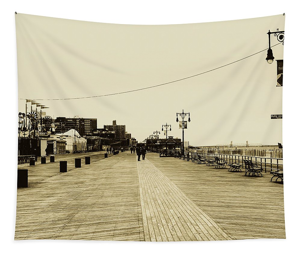 Coney Island Tapestry featuring the photograph Coney Island Boardwalk by Pixabay