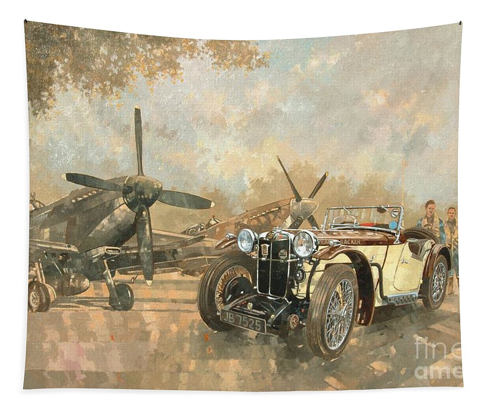 Vehicle; Airplane; Aeroplane; Plane; Military; Airforce; Vintage Car; Planes; Aeroplanes; Airplanes; Classic Cars; Auto; Spitfire Tapestry featuring the painting Cream Cracker Mg 4 Spitfires by Peter Miller
