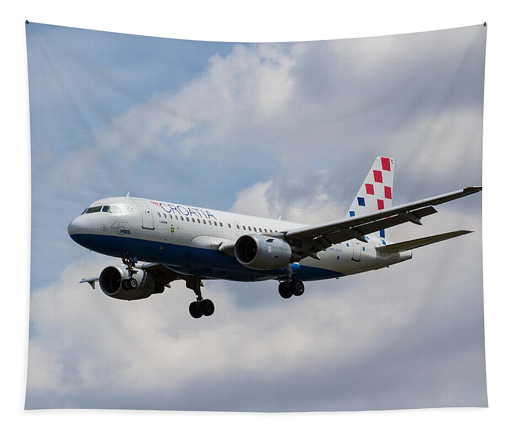 Croatia Tapestry featuring the photograph Croatia Airlines Airbus A319 by David Pyatt