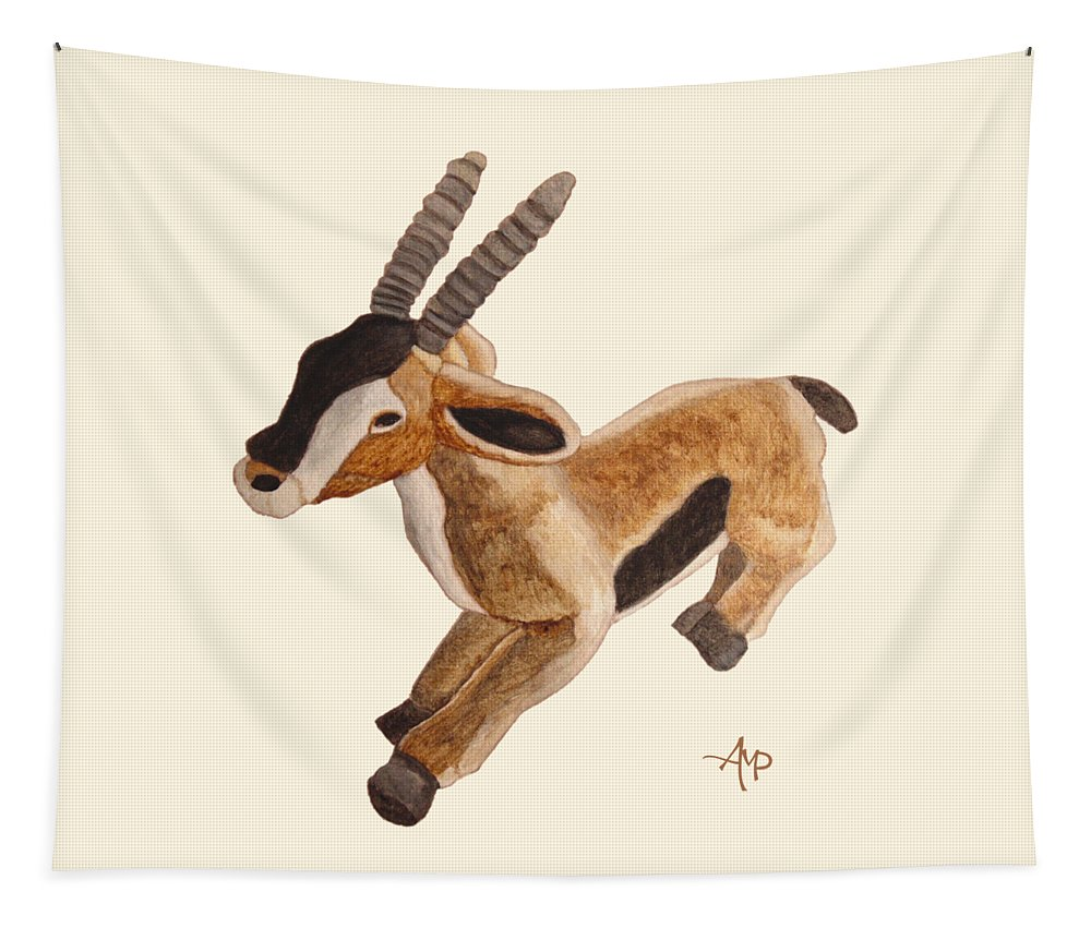Thomson Gazelle Tapestry featuring the painting Cuddly Gazelle by Angeles M Pomata
