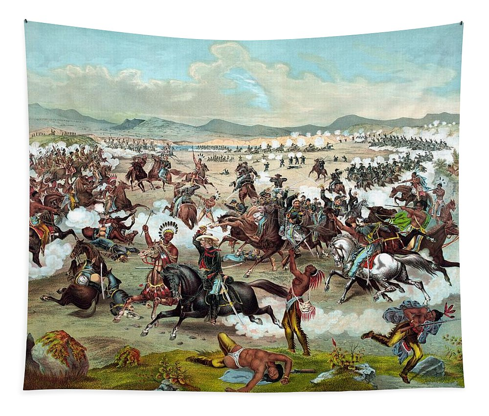 General Custer Tapestry featuring the painting Custer's Last Stand by War Is Hell Store