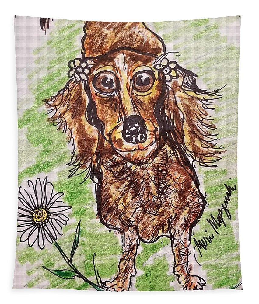 Dachshund Tapestry featuring the drawing Dachshund by Geraldine Myszenski
