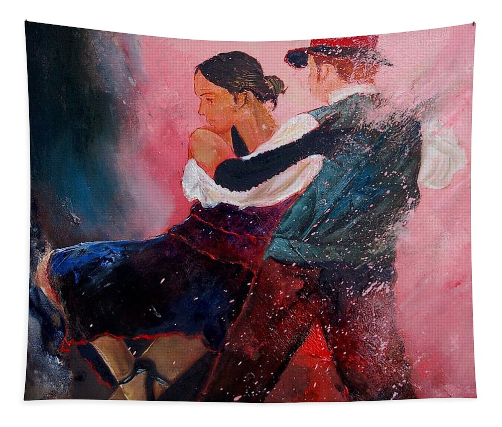 Music Tapestry featuring the painting Dancing Tango by Pol Ledent