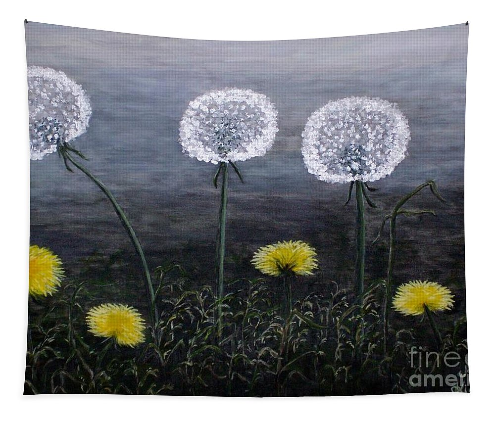 Dandelion Tapestry featuring the painting Dandelion Family by Judy Kirouac