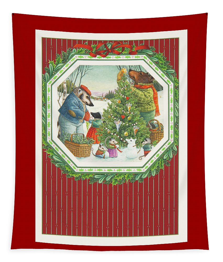 Christmas Tapestry featuring the painting Decorating The Tree by Lynn Bywaters