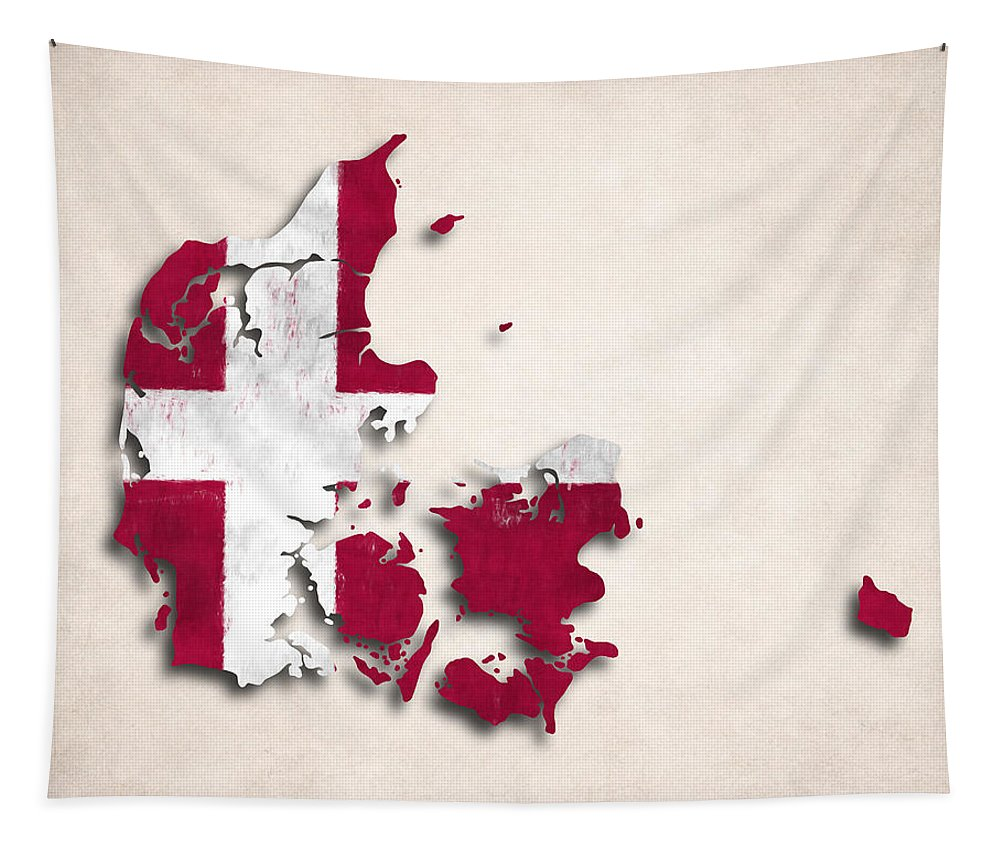 Denmark Tapestry featuring the digital art Denmark Map Art With Flag Design by World Art Prints And Designs