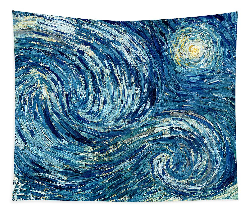 Post-impressionist; Stars; Star; Nocturne; Landscape; Church Spire; Moon; Moonlight; Tree; Sky Tapestry featuring the painting Detail Of The Starry Night by Vincent Van Gogh