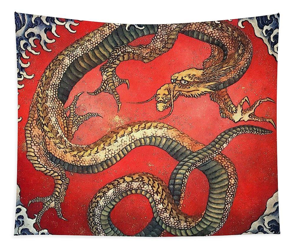 Katsushika Hokusai Tapestry featuring the painting Dragon by Katsushika Hokusai