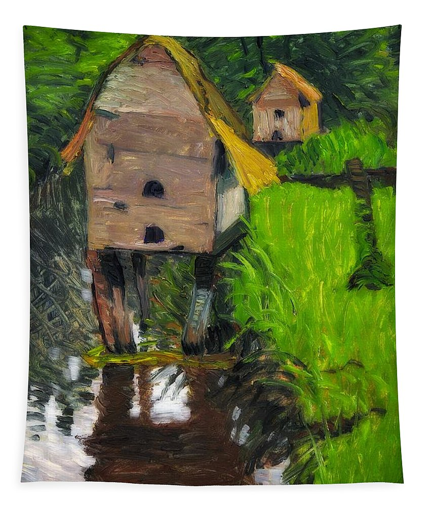 Painting Tapestry featuring the painting Duck Houses by August Haake