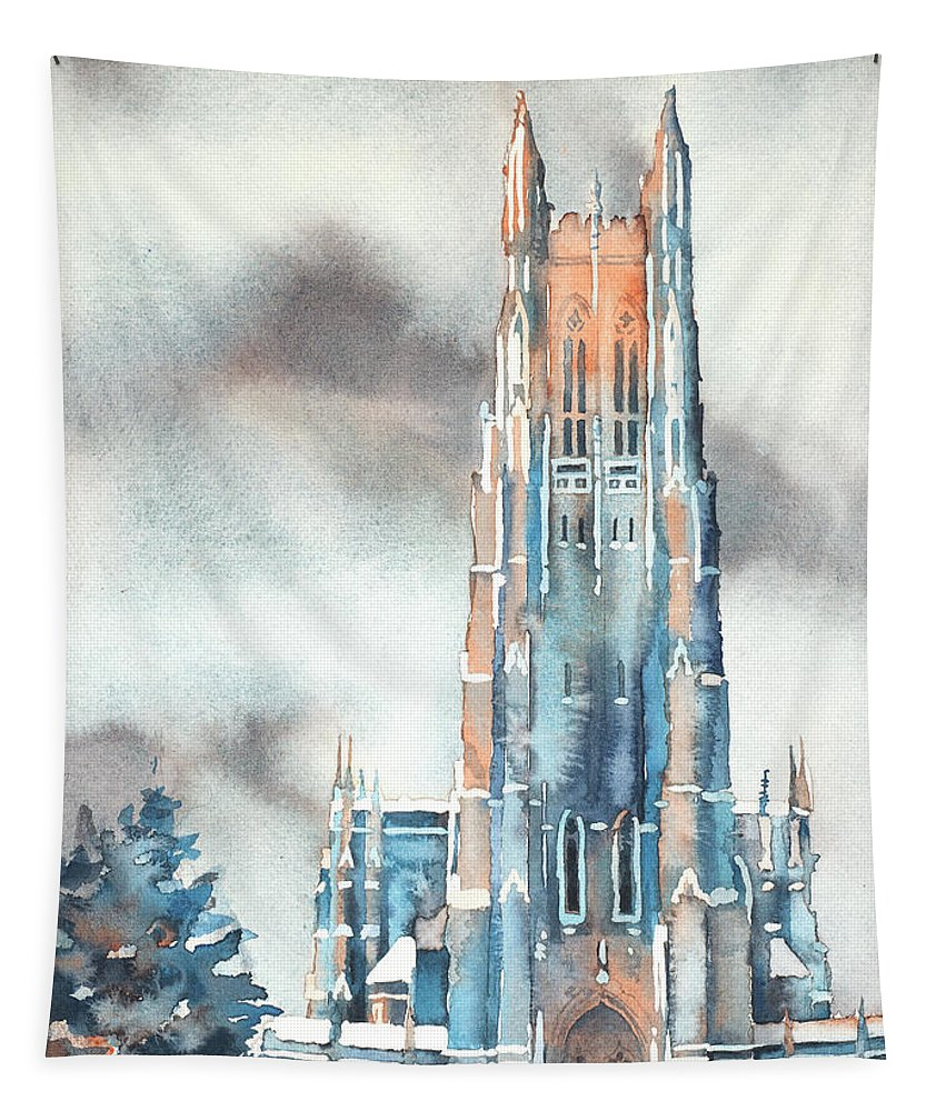 Art For House Tapestry featuring the painting Duke University Chapel by Ryan Fox