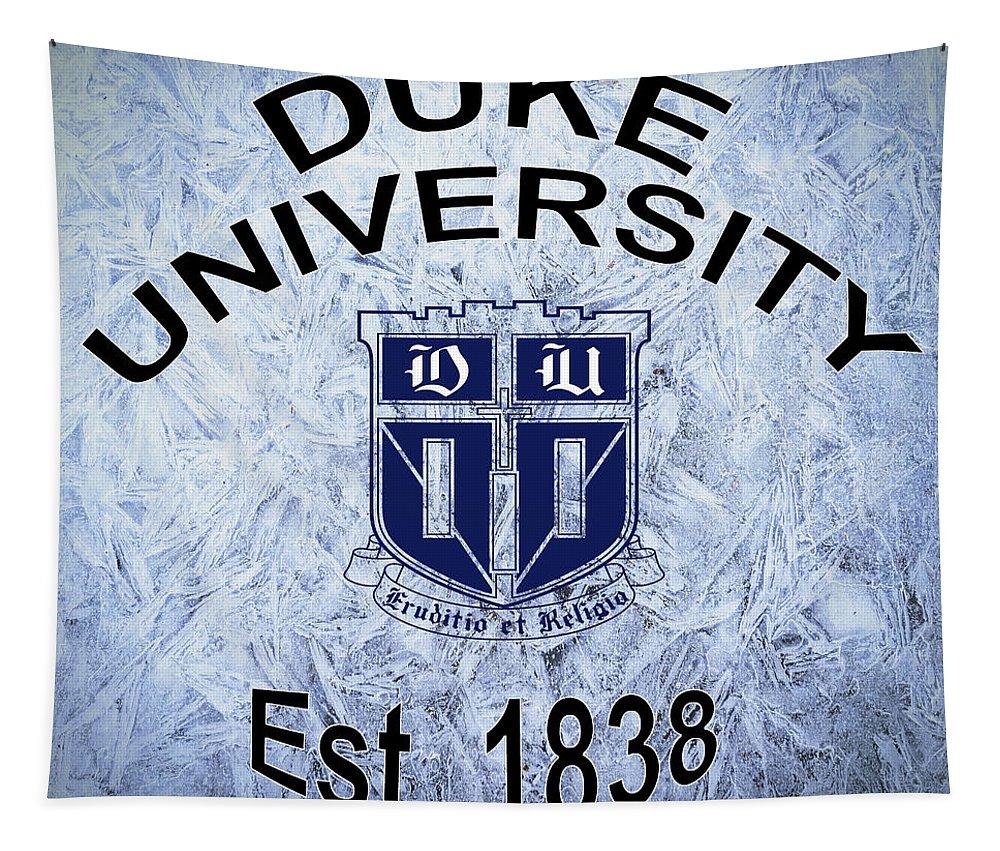 Duke Tapestry featuring the digital art Duke University Est 1838 by Movie Poster Prints