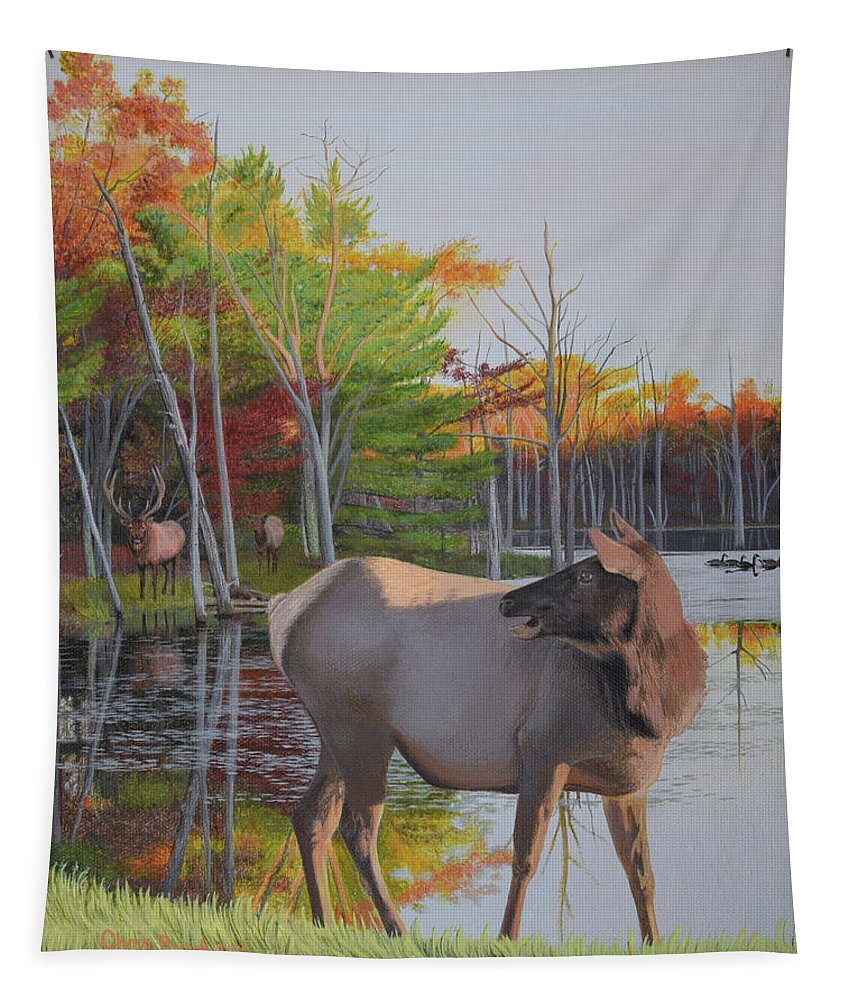 Elk Tapestry featuring the painting Elk Country Evening by Chris Busch