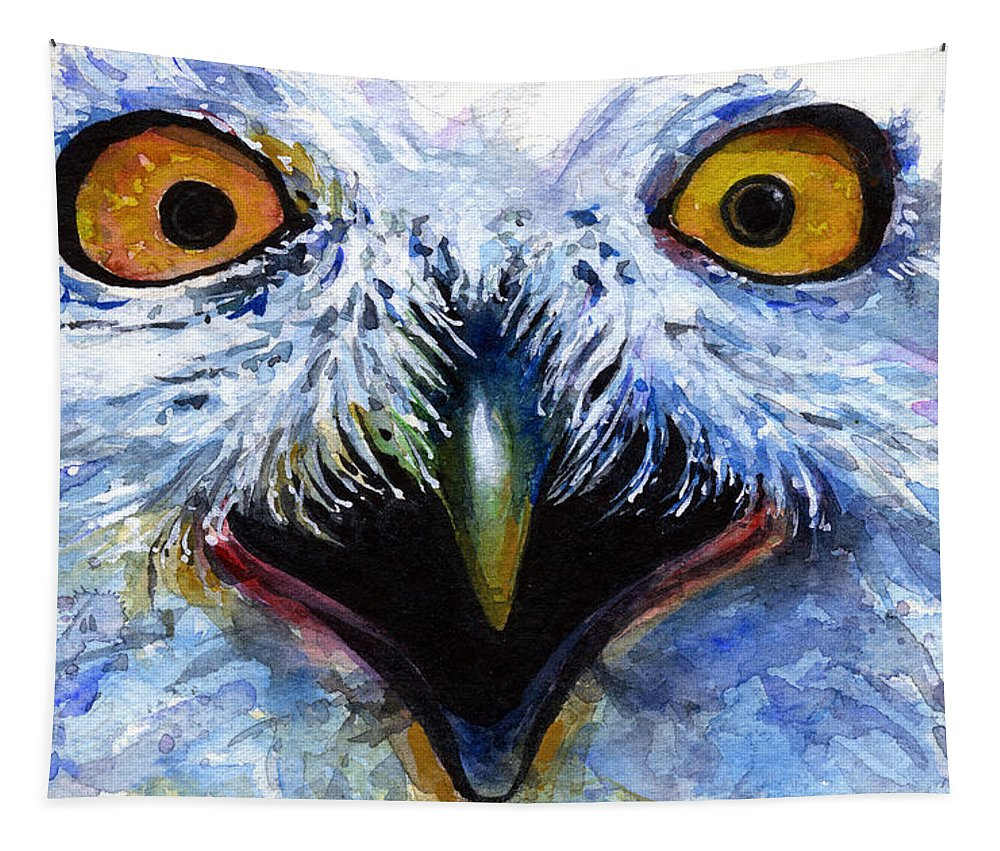 Eye Tapestry featuring the painting Eyes of Owls No. 15 by John D Benson