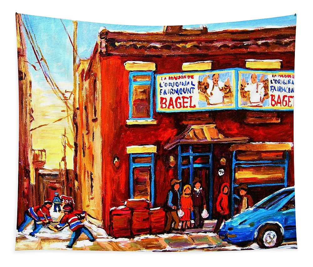 Hockey Tapestry featuring the painting Fairmount Bagel in Winter by Carole Spandau