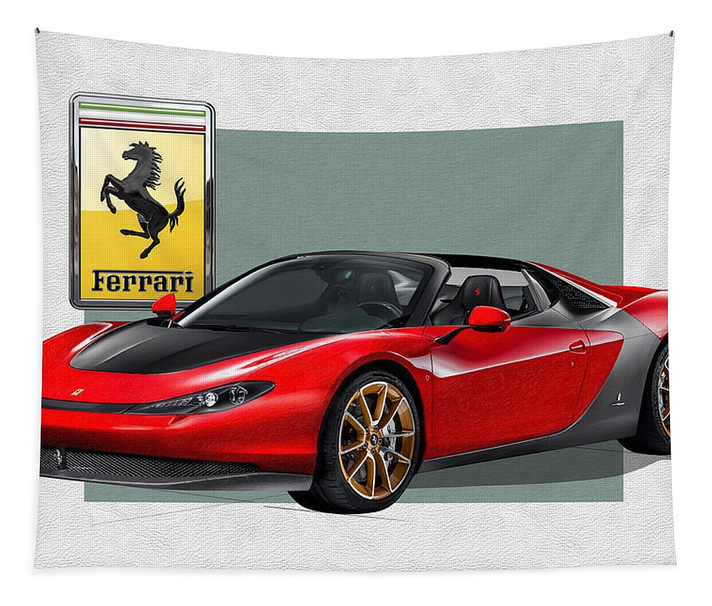 �ferrari� Collection By Serge Averbukh Tapestry featuring the photograph Ferrari Sergio with 3D Badge by Serge Averbukh