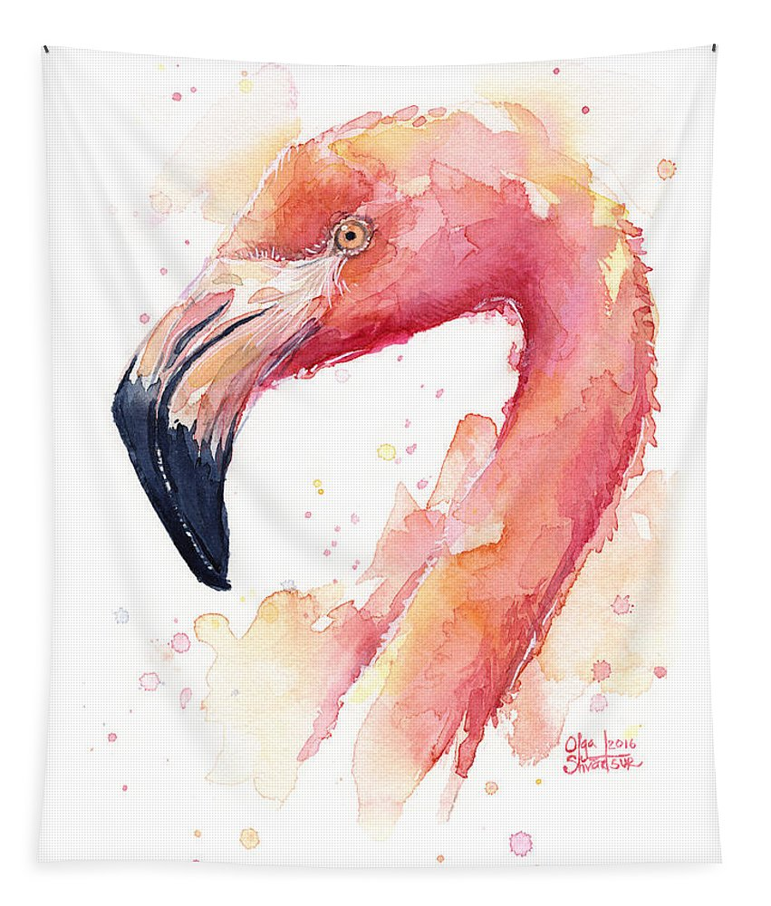 Flamingo Tapestry featuring the painting Flamingo Watercolor by Olga Shvartsur