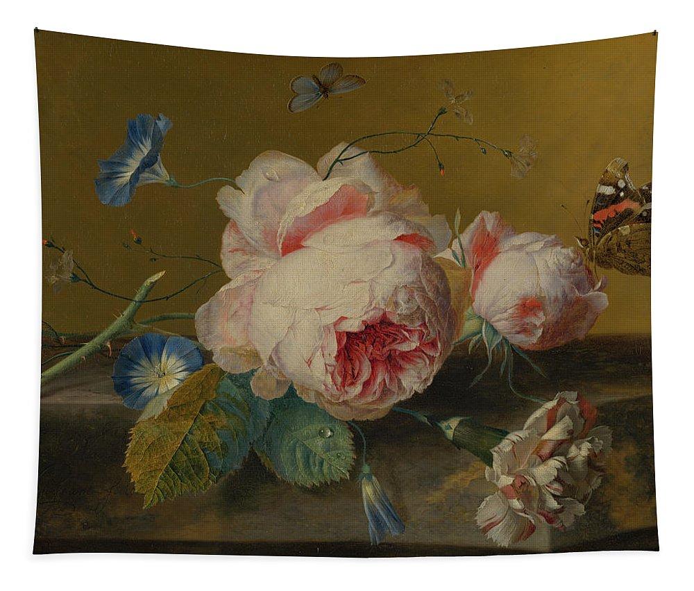 Jan Van Huysum Tapestry featuring the painting Flower Still Life by Jan van Huysum