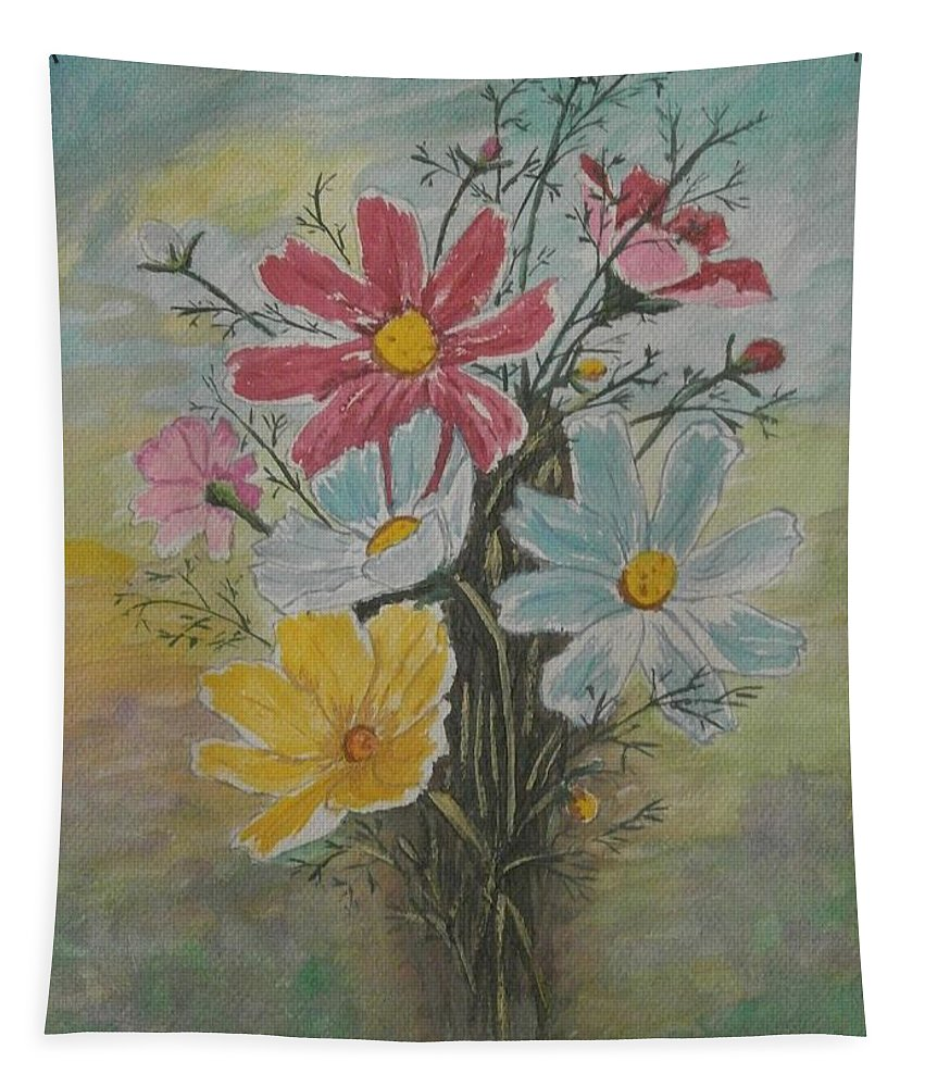 Original Art. Tapestry featuring the painting Flowers by Maria Woithofer