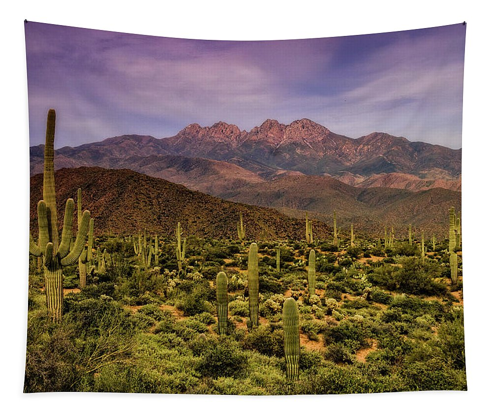 Four Peaks Tapestry featuring the photograph Four Peaks Golden Hour by Saija Lehtonen