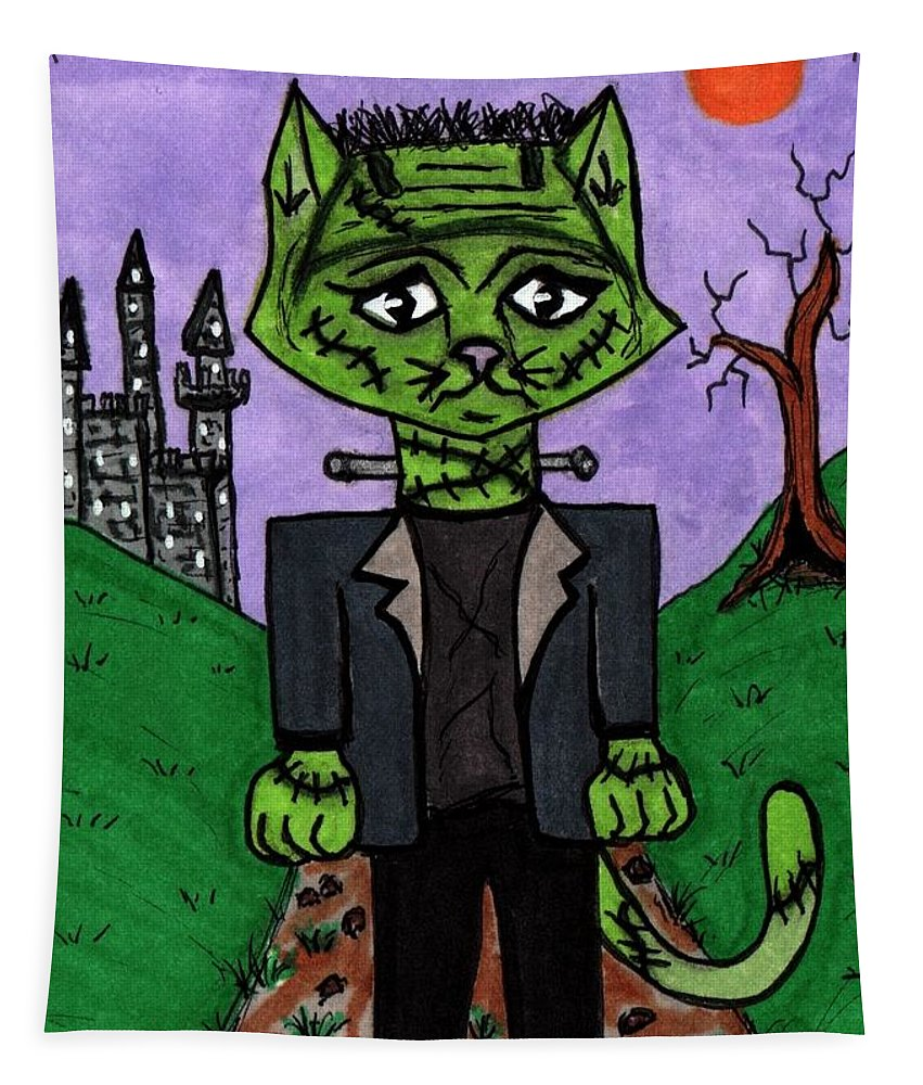 Classic Tapestry featuring the painting Frankenstein Cat by Tambra Wilcox
