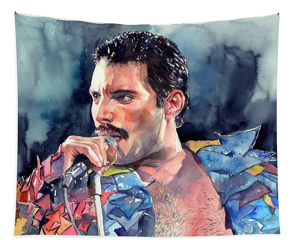Freddie Tapestry featuring the painting Freddie Mercury portrait by Suzann Sines
