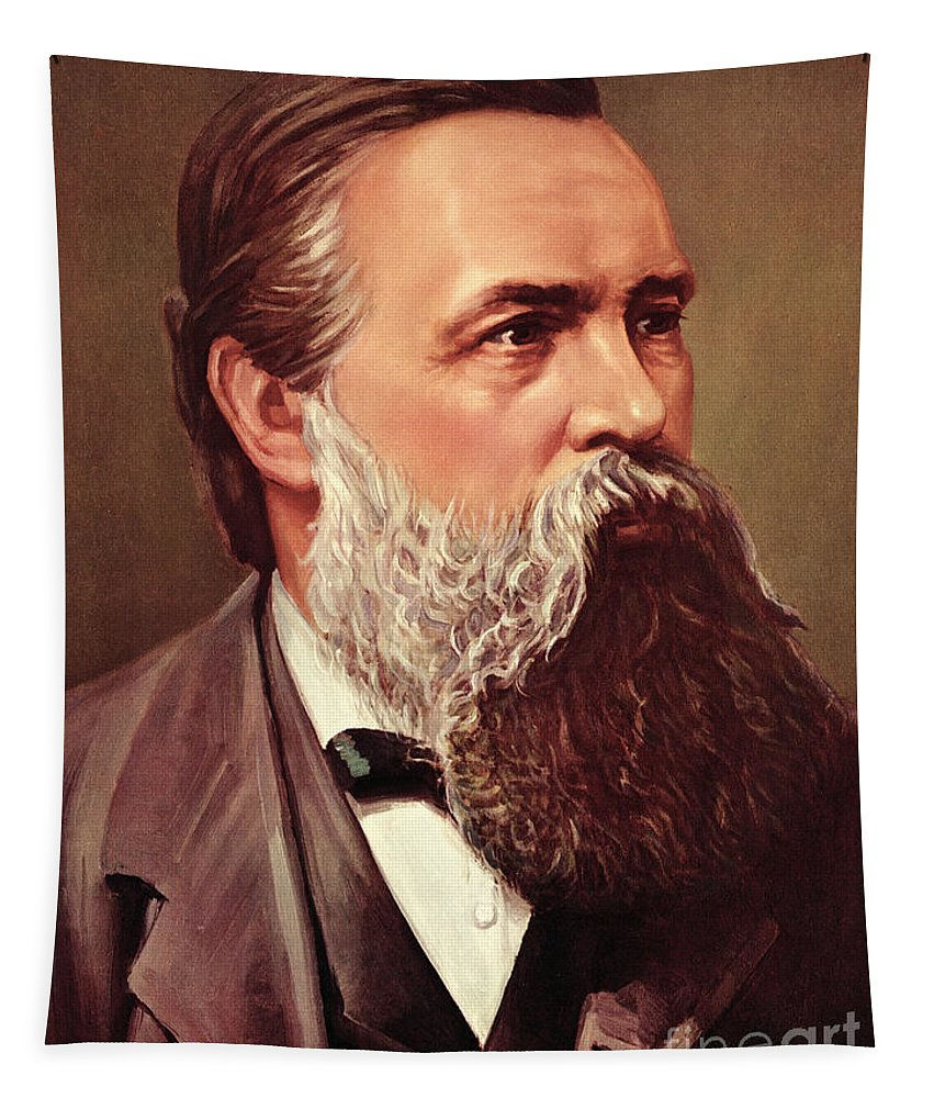 Engels Tapestry featuring the painting Friedrich Engels by German School