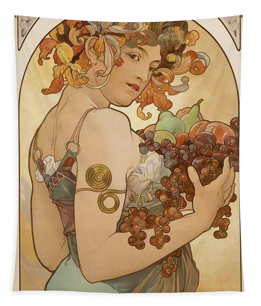 Alphonse Mucha Tapestry featuring the painting Fruit by Alphonse Mucha
