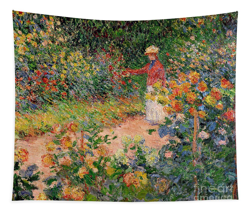 Garden Tapestry featuring the painting Garden at Giverny by Claude Monet