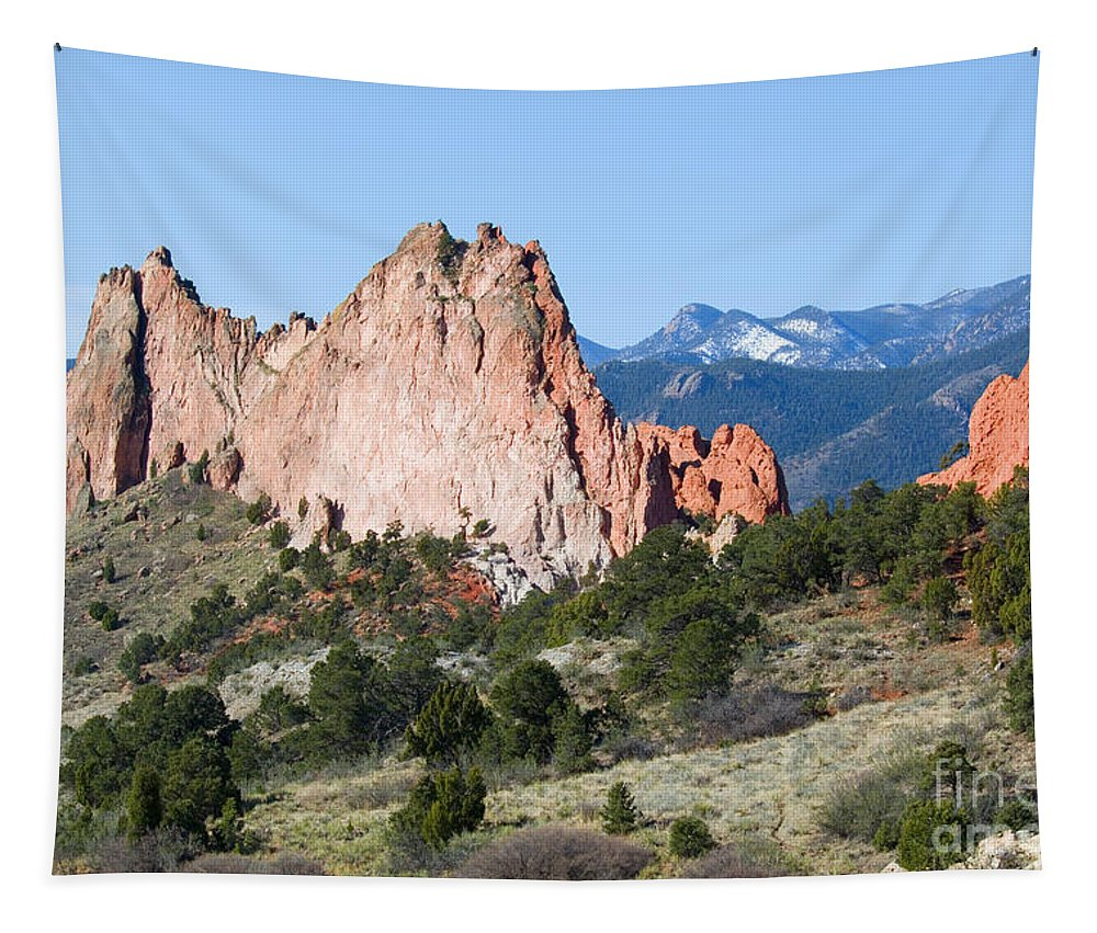 Garden Of The Gods Tapestry featuring the photograph Garden Of The Gods Park In Colorado Springs In The Morning by Steve Krull