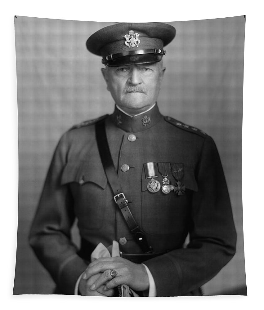 General Pershing Tapestry featuring the photograph General John Pershing 1 by War Is Hell Store