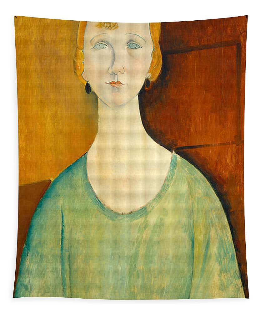 Amedeo Modigliani Tapestry featuring the painting Girl In A Green Blouse by Amedeo Modigliani