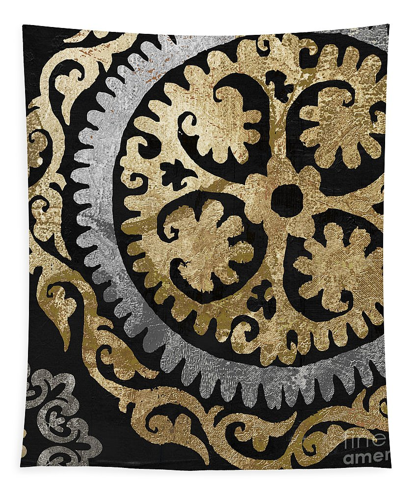 Gold Tapestry featuring the painting Glitterfish Iv by Mindy Sommers