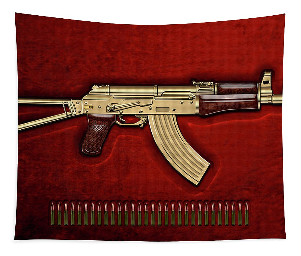 'the Armory' Collection By Serge Averbukh Tapestry featuring the photograph Gold A K S-74 U Assault Rifle With 5.45x39 Rounds Over Red Velvet  by Serge Averbukh