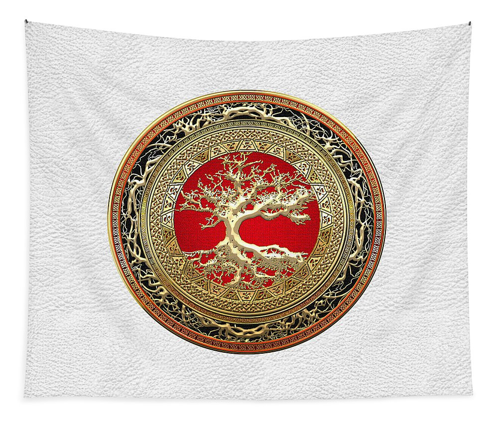 Treasure Trove By By Serge Averbukh Tapestry featuring the photograph Gold Celtic Tree of Life on White Leather by Serge Averbukh