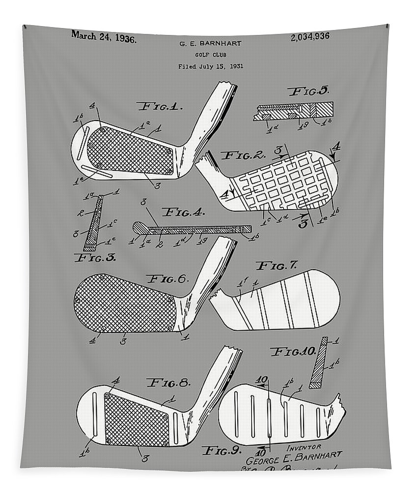 Golf Tapestry featuring the digital art Golf Club Patent Drawing Grey 3 by Bekim M