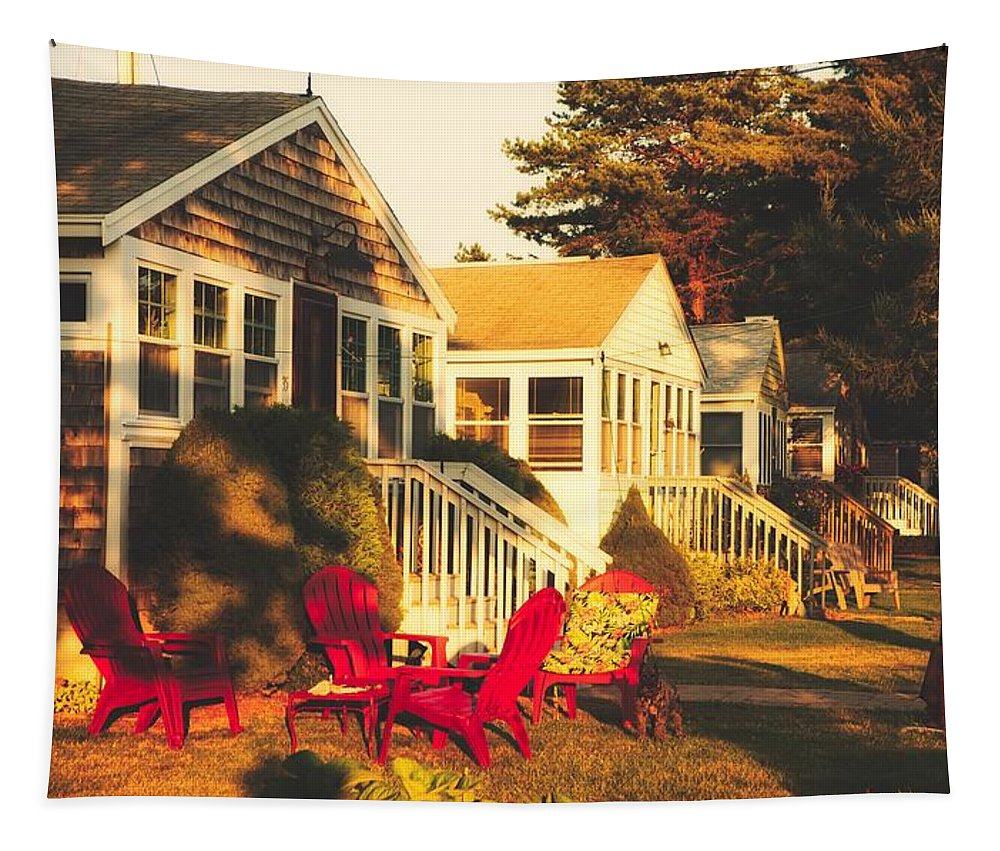 Goose Creek Beach Tapestry featuring the photograph Goose Creek Beach Cottages by Library Of Congress