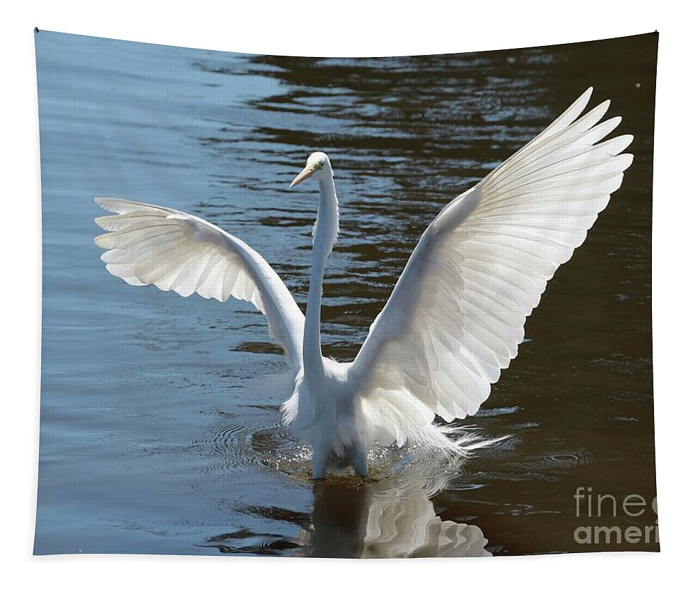 Great Egret Tapestry featuring the photograph Great Egret Wings by Carol Groenen