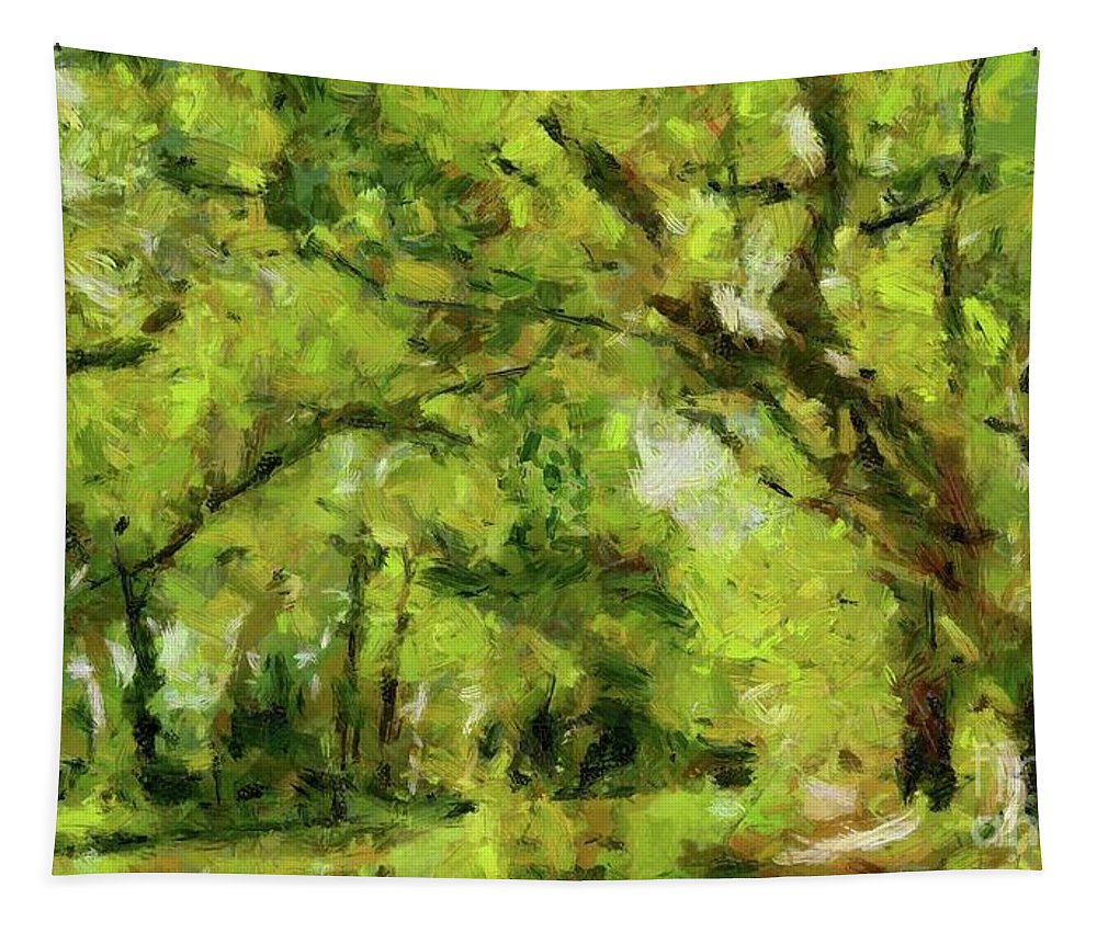 Summer Tapestry featuring the painting Green River by Dragica Micki Fortuna