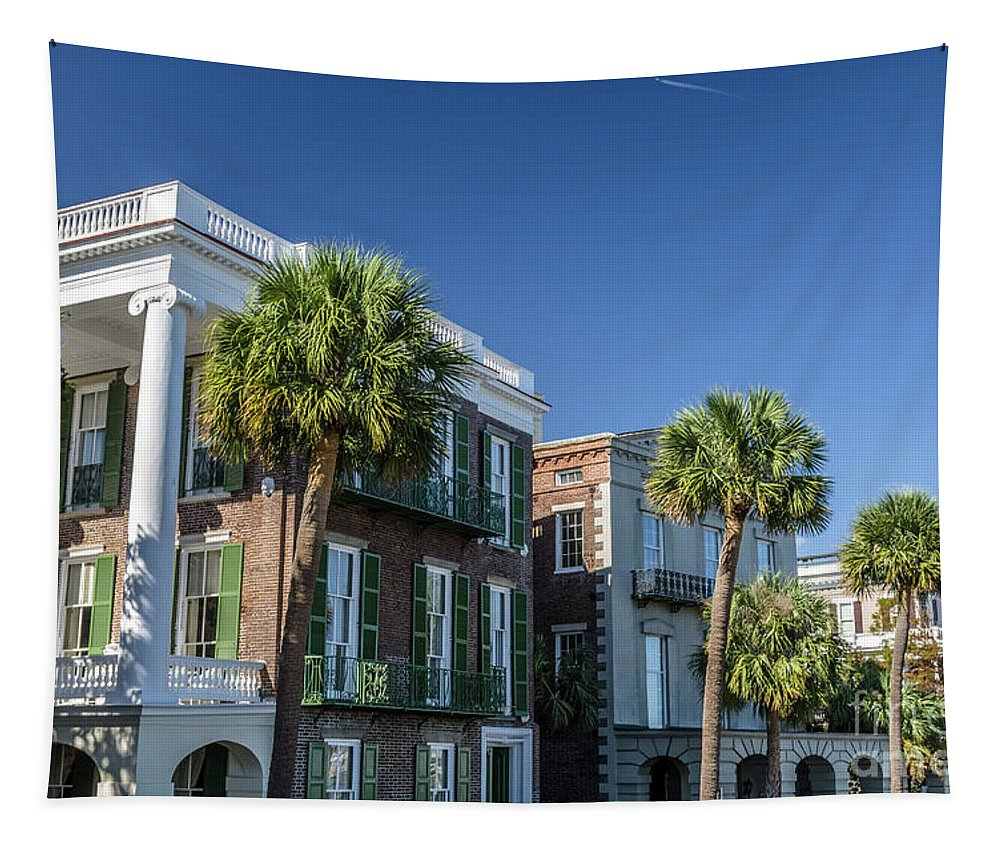 Charleston Tapestry featuring the photograph Columns By The Sea by Dale Powell