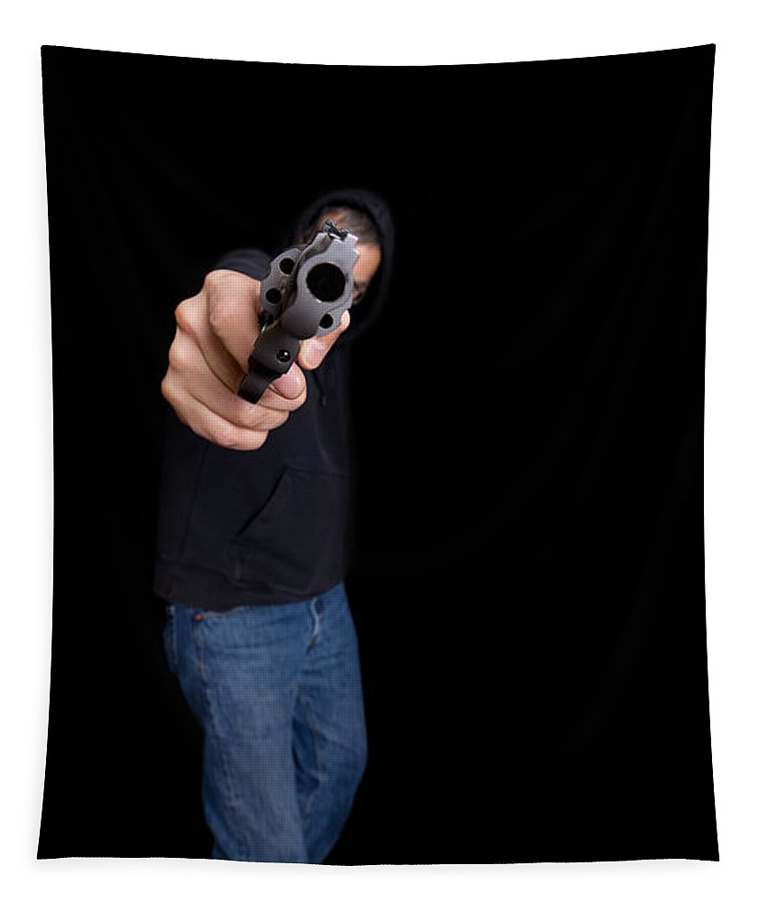 Pistol Tapestry featuring the photograph Gun Man by Edward Fielding