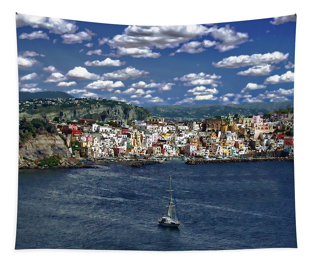 Town Tapestry featuring the photograph Harbor In Corricella by Anthony Dezenzio