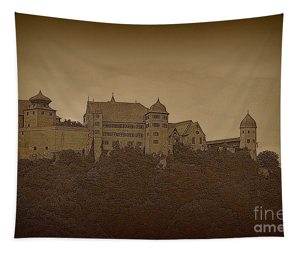 Harburg Castle Tapestry featuring the photograph Harburg Castle - Digital by Carol Groenen