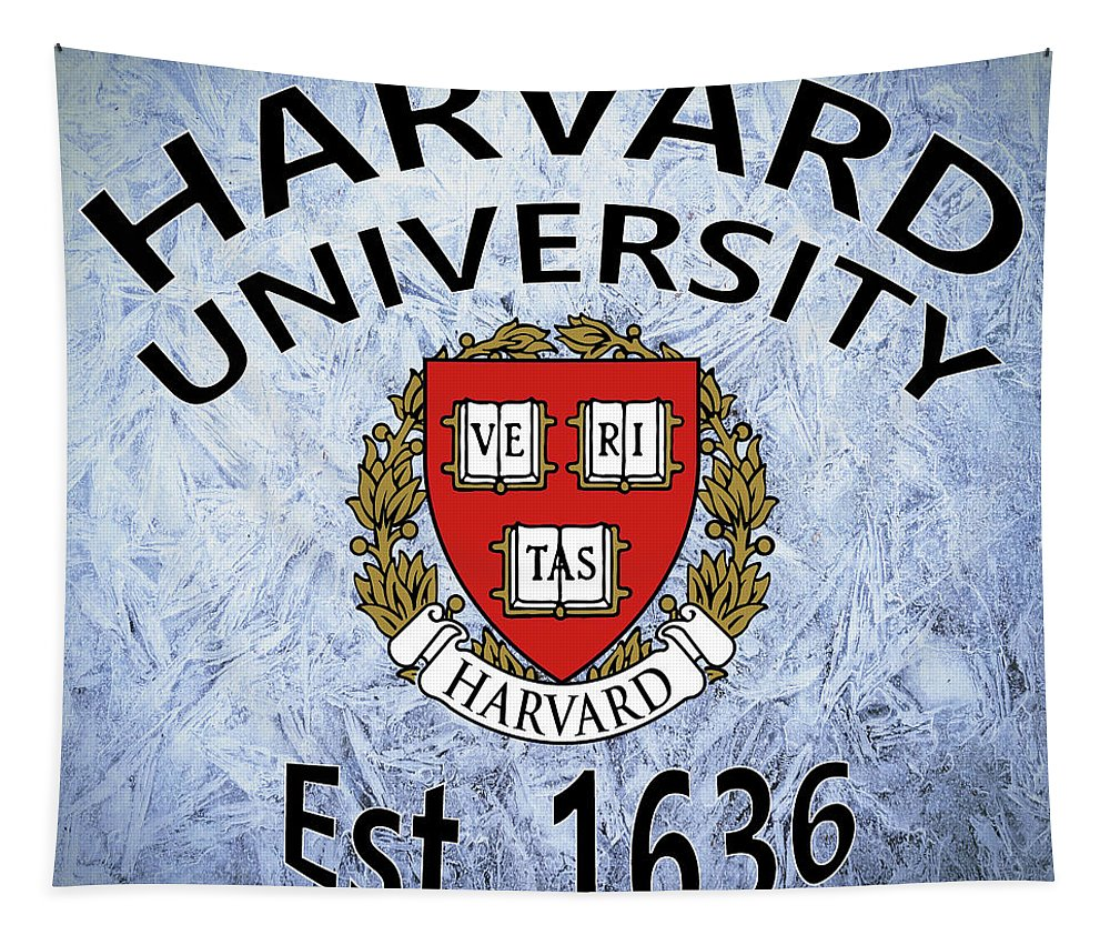 Harvard Tapestry featuring the digital art Harvard University Est. 1636 by Movie Poster Prints