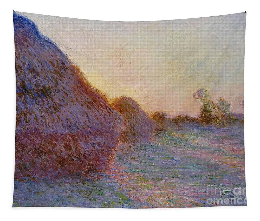 French Tapestry featuring the painting Haystacks by Claude Monet