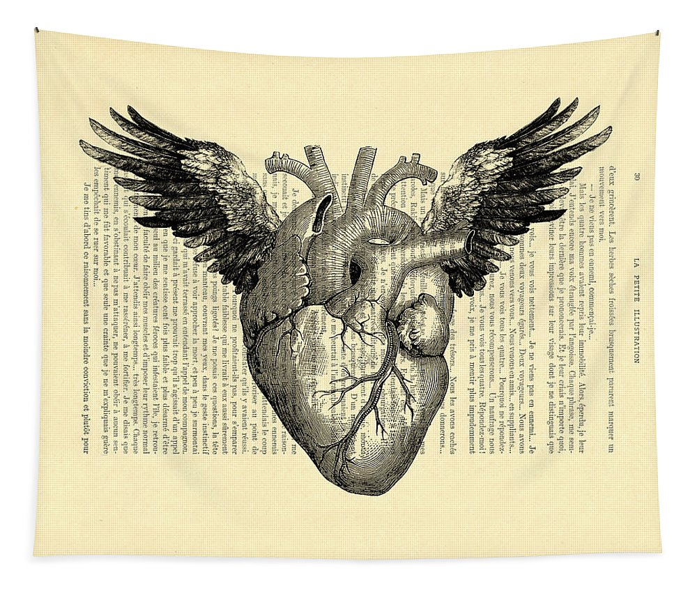 Heart Tapestry featuring the digital art Heart With Wings by Madame Memento