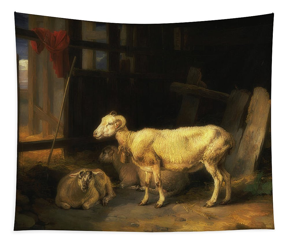 Painting Tapestry featuring the painting Heath Ewe And Lambs by James Ward