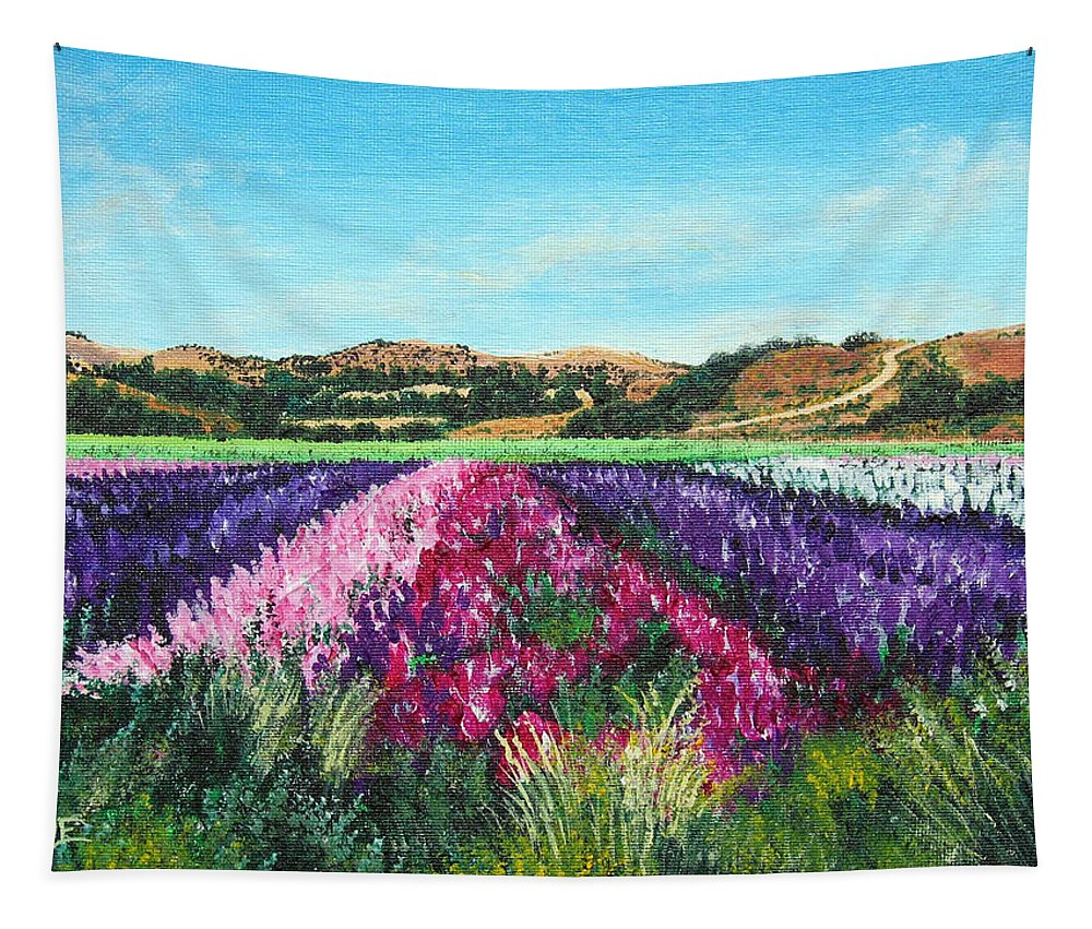 Highway 246 Tapestry featuring the painting Highway 246 Flowers 3 by Angie Hamlin