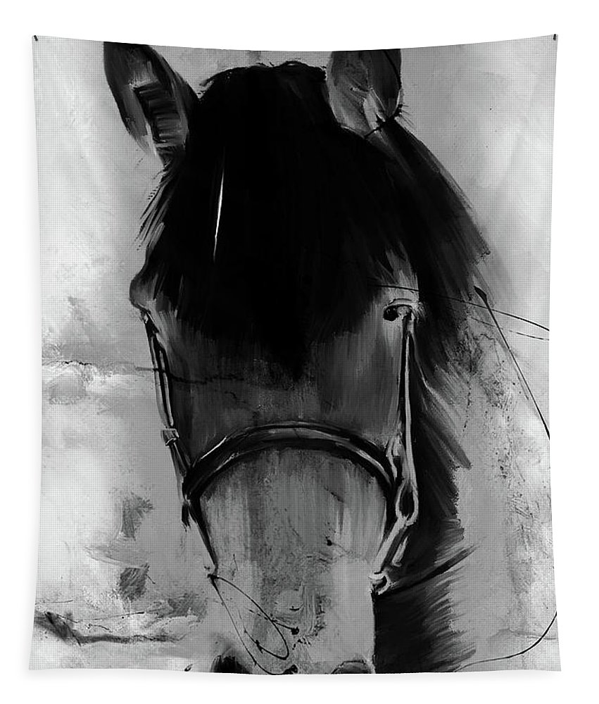 Horse Tapestry featuring the painting Horse Portrait by Gull G