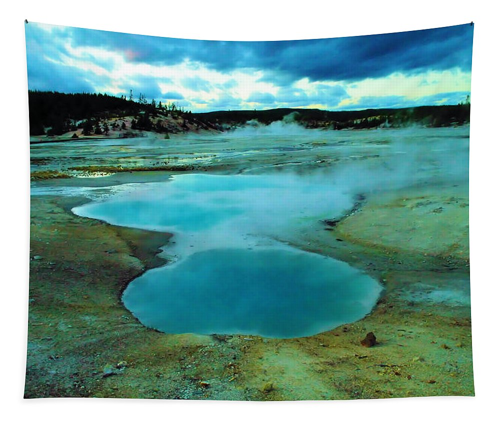 Hot Springs Tapestry featuring the photograph Hot Springs In Yellowstone. by Jeff Swan
